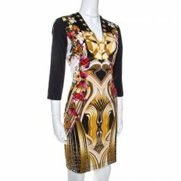 Just Cavalli Black Leo Butterfly Print Jersey Fitted Dress L 266460