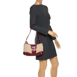 Aigner Red/Beige Canvas and Leather Shoulder Bag 265594