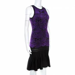 Roberto Cavalli Bicolor Lurex Jacquard Knit Midi Dress S 265118