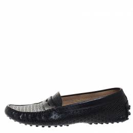Tod's Black Perforated Leather Penny Slip On Loafers Size 37 265376
