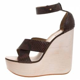 Chloe Brown Python Leather Cross Strap Wooden Wedge Ankle Strap Sandals Size 40 264370
