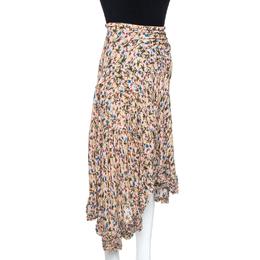 Chloe Quiet Pink Floral Print Crepe Asymmetric Ruffled Hem Skirt M