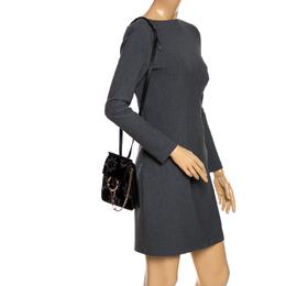 Chloe Black Star Applique Leather and Velvet Mini Faye Crossbody Bag