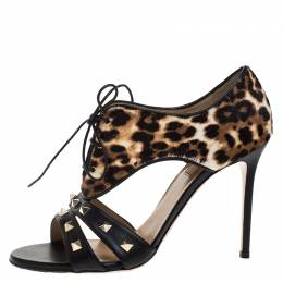 Valentino Multicolor Leopard Pony Hair And Black Leather Lace Up Rockstud Sandals Size 39.5