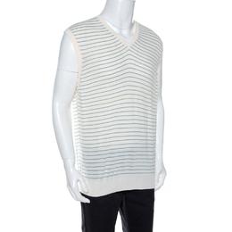 Ermenegildo Zegna Off White Striped Knit Sleeveless Jumper XL 264884