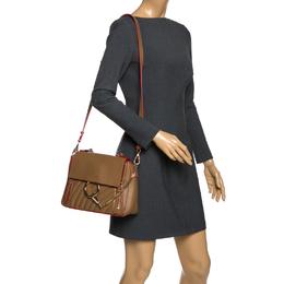 Chloe Brown/Red Leather Faye Daye Top Handle Bag
