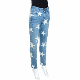 Stella McCartney Indigo Star Print Faded Denim Boyfriend Jeans M