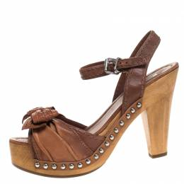 Miu Miu Brown Leather Bow Studded Platform Ankle Strap Sandals Size 40 264364