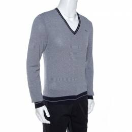 Dsquared2 Navy Blue Striped Knit Fitted Jumper L