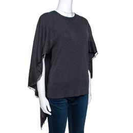 Valentino Grey Wool Knit Lace Trim Caped Sweater M 264533