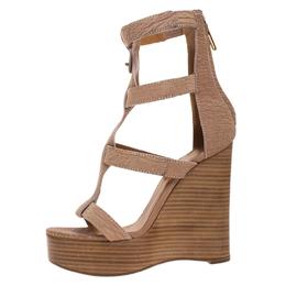 Chloe Beige/Brown Textured Nubuck Gladiator Platform Sandals Size 38 264897