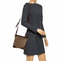 Prada Beige/Brown Logo Jacquard Fabric and Leather Crossbody Bag 265959