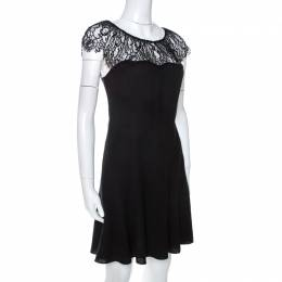 Polo by Ralph Lauren Black Crepe Lace Trim Detail Dress S 264227