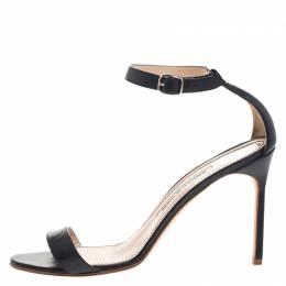 Manolo Blahnik Blue Leather Chaos Ankle Strap Sandal Size 39 264044