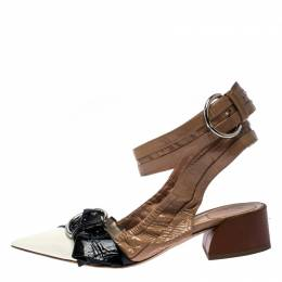 Dior Multicolor Patent Leather Conquest Buckle Detail Ankle Wrap Sandals Size 39 264042