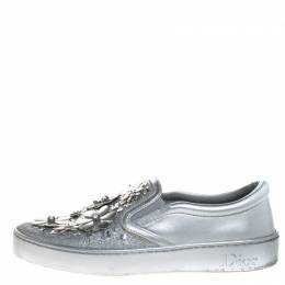Dior Metallic Silver Glitter Leather Dior Happy Floral Embellished Slip On Sneakers Size 36.5 265547