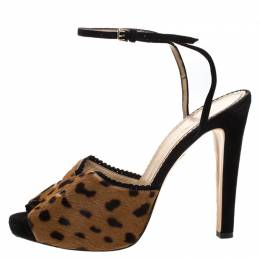 Charlotte Olympia Brown Leopard Print Calf Hair Platform Ankle Strap Sandals Size 41 264125