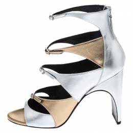 Pierre Hardy Metallic Silver/Gold Cut Out Leather Lula Sandals Size 40 266152