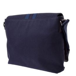 Salvatore Ferragamo Navy Blue/Dark Brown Canvas And Leather Messenger Bag 263905
