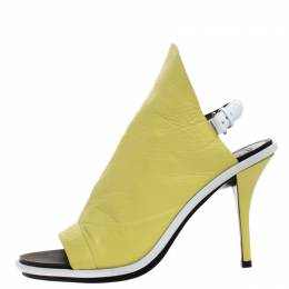 Balenciaga Lime Leather Glove Peep Toe Sandals Size 37 265150