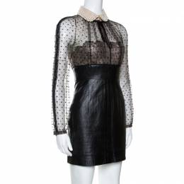 Valentino Black Leather Skirt Embellished Collar Detail Dress S 265555