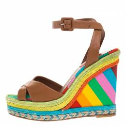 Valentino Brown Leather Multicolor Espadrille Wedge Ankle Strap Sandals Size 37.5