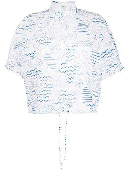 Kenzo кружевная блузка с принтом FA52CH02057A