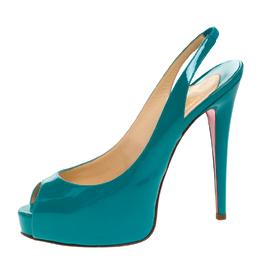 Christian Louboutin Green Patent Leather Lady Peep Slingback Pumps Size 38 264599