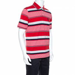 Yves Saint Laurent Red Striped Pique Cotton Polo T-Shirt M 264840