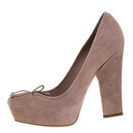 Dior Beige Suede Bow Detail Block Heel Platform Pumps Size 38.5 266147