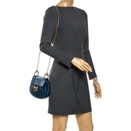 Chloe Dark Blue Leather Small Drew Shoulder Bag