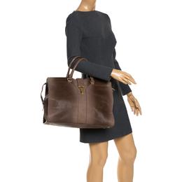Saint Laurent Paris Brown Ombre Leather Large Cabas Chyc Satchel Bag