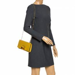 Chloe Yellow Leather Bow Detail Chain Shoulder Bag