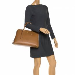 Prada Caramel Saffiano Lux Leather Medium Promenade Bag 265454