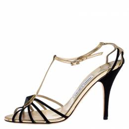Jimmy Choo Black/Gold Leather And Suede Crystal Embellished Strappy Sandals Size 38 265852