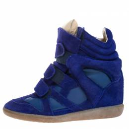 Isabel Marant Blue Suede and Leather Bekett High Top Sneakers Size 38 265410