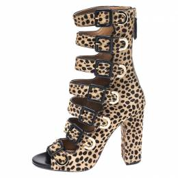 Aquazzura Leopard Print Pony Hair Tutto Buckle Zip Up Open Toe Sandals Size 37 266179
