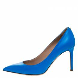 Valentino Blue Leather Rockstud Pointed Toe Pumps Size 36 266428