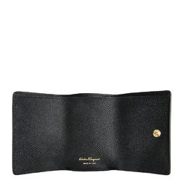 Salvatore Ferragamo Black Embossed Calf Leather Vara Bow Wallet 266229