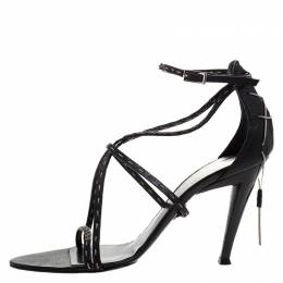 Fendi Black Leather White Stitch And Metal Chain Detail Strappy Sandals Size 39.5 265626