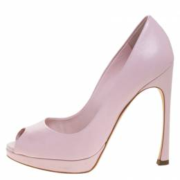 Dior Pink Leather Diorella Peep Toe Platform Pumps Size 36.5 264001