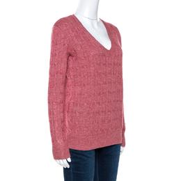Ralph Lauren Pale Red Linen Wool Cable Knit Jumper M 264007