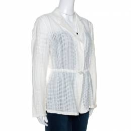 Armani Collezioni White Perforated Wool Blend Peplum Jacket M 266436