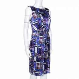 Armani Collezioni Multicolor Printed Silk Pleated Sleeveless Dress M 266431