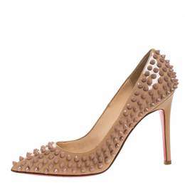 Christian Louboutin Beige Patent Leather Pigalle Spikes Pumps Size 36.5 265059