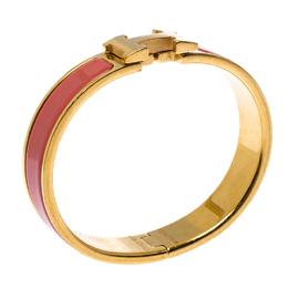 Hermes Clic H Pink Enamel Gold Plated Narrow Bracelet PM 264429