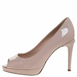 Fendi Beige Patent Leather Peep Toe Platform Pumps Size 37.5 264399