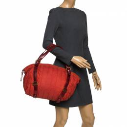 Escada Orange Nylon and Leather Shoulder Bag 264643