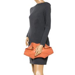 Alexander McQueen Orange Leather Medium De Manta Clutch 264248