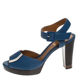 Fendi Blue Leather Metal Logo Embellished Open Toe Platform Block Heel Ankle Strap Sandals Size 40 265603